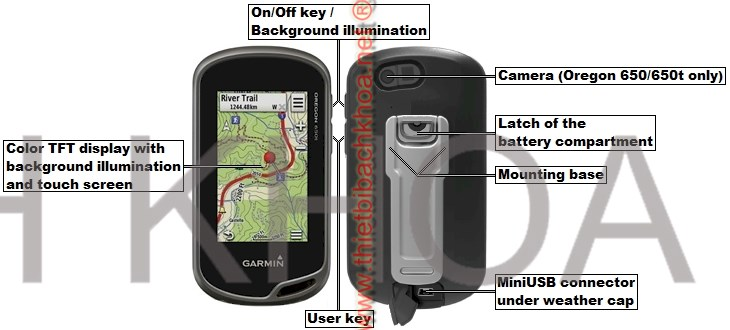 Unit features of the GARMIN Oregon 600/600t/650/650t